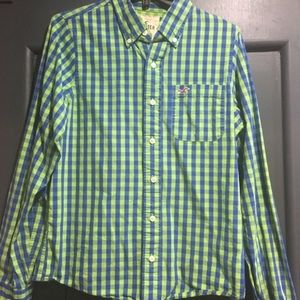 Hollister Mens Checked Button Down Green Blue